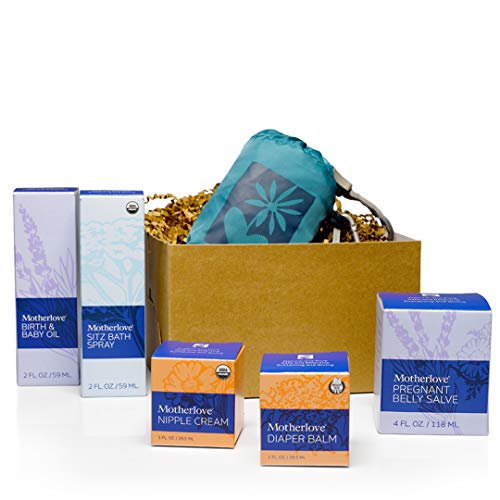 Motherlove Nurturing Life Gift Box - 1 Each of: Pregnant Belly Salve, Sitz Bath Spray, Birth & Baby Oil, Nipple Cream, Diaper Balm & Reusable Tote - Great Pregnancy Gift for Expecting Moms