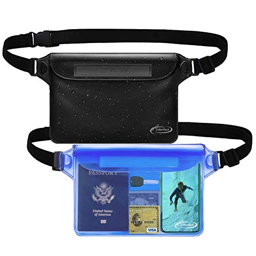 AiRunTech Waterproof Pouch with Waist Strap (2 Pack)   Best Way to Keep Your Phone and Valuables Safe and Dry   Perfect for Boating Swimming Snorkeling Kayaking Beach Pool Water Parks
