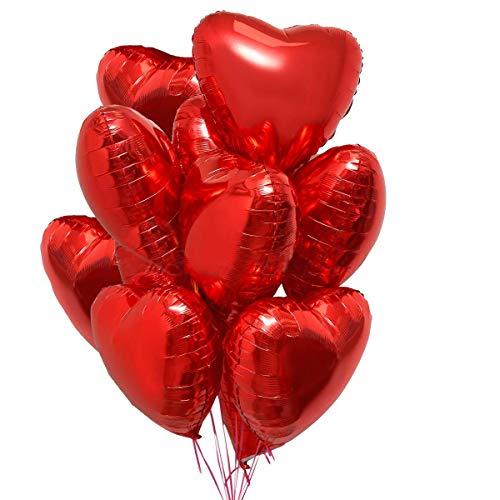 25 Palloncini a Forma di Cuore Rossi ad Elio o Aria per Decorazione Romantica, San Valentino, Anniversario Matrimonio e Fidanzamento