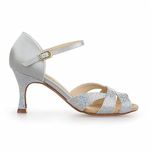 JIA JIA Y2054 Damen Sandalen Ausgestelltes Heel Super-Satin mit Pailletten Latein Tanzschuhe Silber, 42 - 4