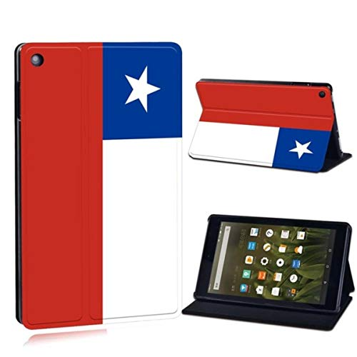 for Amazon Fire 7 5/7/9th,2015 2017 2019/ Fire HD 8/10 Printed Flag Leather Tablet Stand Folio Shockproof Stand Cover Case,11.Chile Flag,Fire HD 8