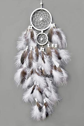 "TooglBox Handmade Native American Indian Dream Catcher [White] with Real Feathers & Wood Beads,for Kids, Bedroom, Wall Hanging Decor Craft, Two Circles 4.3"" and 2.3""; Length 25""-26' (White)"