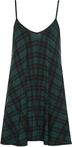WearAll - Grande Taille imprimé Mini-Robe débardeur Top - Vert Tartan - 52-54