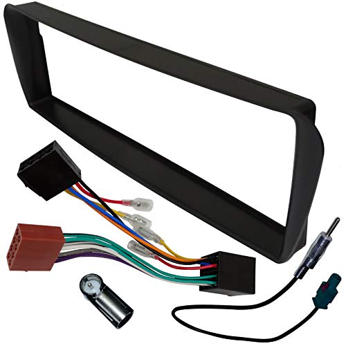 AERZETIX - Kit de Montaje de Radio de Coche estándar 1DIN - Marco, Cable Enchufe y adaptadores de Antena - Negro - C1437A