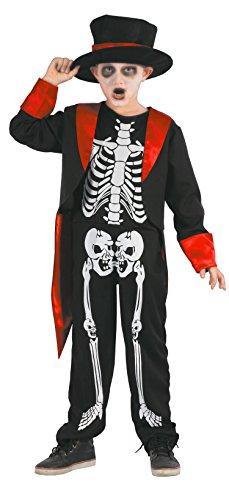 Magicoo Gentleman Skelett Kostüm Kinder Jungen schwarz-rot-weiß - schickes Halloween Kostüm Jungen (134/140)