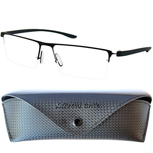 Halbbrille Lesebrille mit rechteckigen Gläsern, GRATIS Brillenetui, Leichten Edelstahl Rahmen (Schwarz), Lesehilfe Herren und Damen +1.5 Dioptrien
