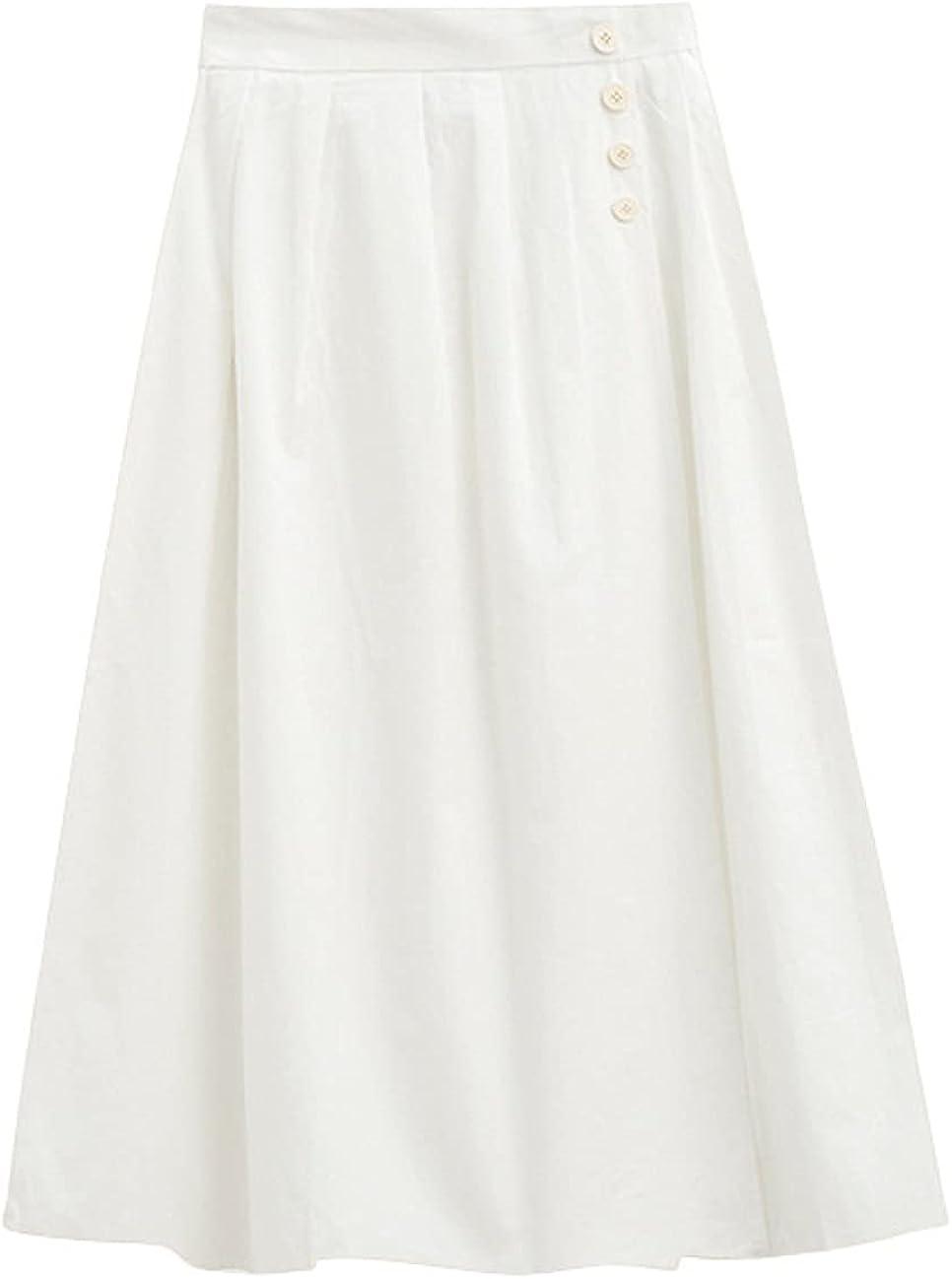 CHARTOU Women's Summer Back Elastic-Waist Flared Pleated A-Line Midi Long Skirt