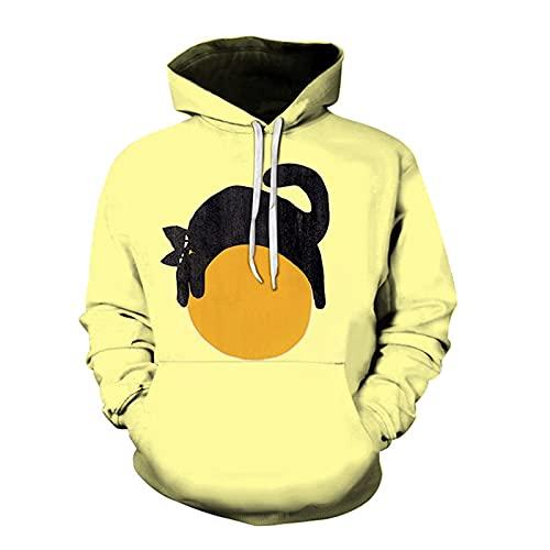 SSBZYES Maglione Felpa con Cappuccio da Uomo Felpa di Grandi Dimensioni Top Quattro Stagioni Maglione Indossabile Frutta Limone Maglione con Stampa Creativa Giacca a Maniche Lunghe T-Shirt