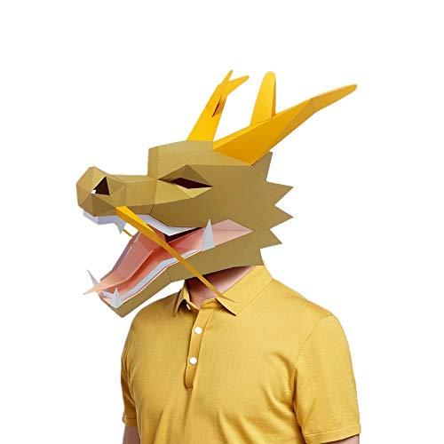 XCAYBH DIY Papiermodell-Maske Weihnachten Halloween Ball Party 3D Papier Maske Chinesische Drache Kostüm Cosplay (Farbe: 2)