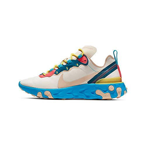 Nike W React Element 55, Chaussures d'Athlétisme Femme, Multicolore (Light Cream/Desert Ore/Lt Blue Fury 201), 40 EU