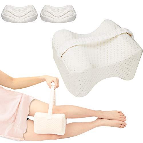Bolatus Knäkudde med 2 x tvättbara överdrag, benkudde i minnesskum för att sova på sidan, ortopedisk knäkudde benstöd knäkudde med tvättbar rem för sängsömn, knäsmärta