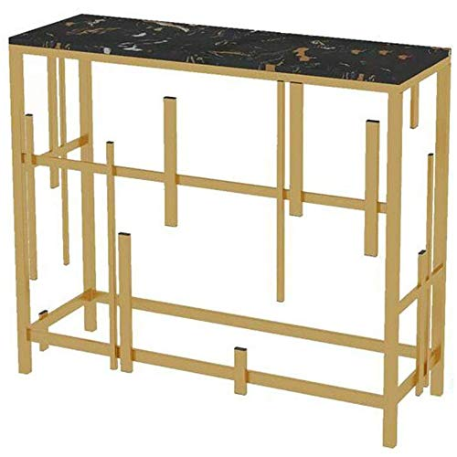 GRXXX Black Marble Porch Table, Entrance Side Table, Wall-Mounted Sofa Table in Bedroom Living Room Corridor (Table with LED),Table