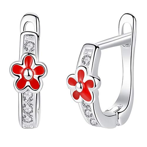 925 Sterling Silver Animal Ladybug Earrings For Child Red Enamel Small Ladybird Hoop Earrings Jewelry GiftETYE3245