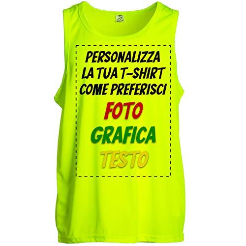 CHEMAGLIETTE! Canotta Personalizzata Maglietta Smanicata Running Fluo 100% Poliestere Traspirante (XL)