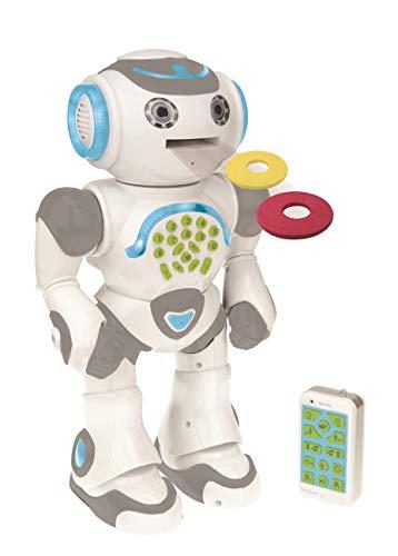 Powerman Max - Fernbedienung Gehen Sprechender Spielzeugroboter STEM Programmierbare Tänze Singen Erzählen von 10.000 Geschichten 300+ Lernquiz Schießende Discs und Sprachwiederholung für Kinder ab 4