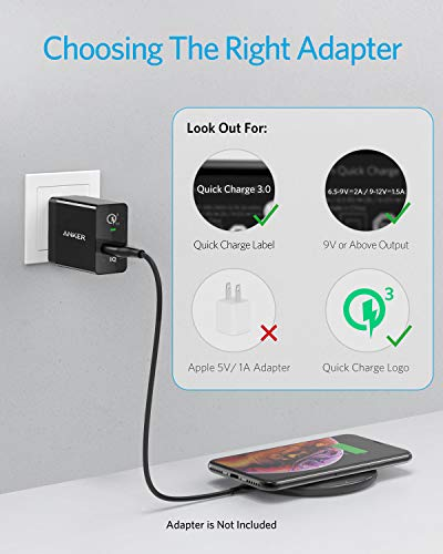Anker Wireless Charger, PowerWave Pad Qi-Certified 10W Max for iPhone SE (2020), 11, 11 Pro, 11 Pro Max, Xs Max, XR, XS, X, 8, 8 Plus, AirPods, Galaxy S20 S10 S9 S8, Note 10 9 8 (No AC Adapter) 3 The Anker Advantage: Enjoyed by over 50 million users worldwide, our leading technology will change the way you charge. Complete Charging Convenience: Instantly charge your phone or earbuds simply by placing them in the center of PowerWave Pad. Never fuss around with plugging and unplugging cables again, just set down and power up. Universal Compatibility: PowerWave Pad provides 10W output for Samsung Galaxy, 7.5W for iPhone, and 5W for other phones or wireless earbuds (including AirPods).