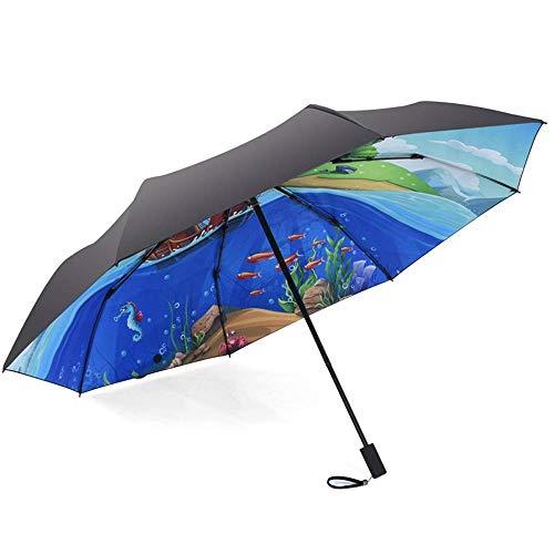 YXDEW Folding Regenschirm Faltschirme Für Frauen Regenschirm Kompakte Sonnenschirm mit 99% UV-Schutz Winddichtes Piratenschiff Design Mode Reise Regenschirm wasserdicht