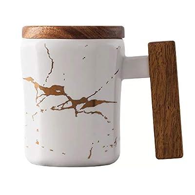 Coffeezone 12.5 Oz Matte Ceramic Marble Tea Coffee Mug Cups with Wood Lid and Handle Luxury Gold Inlay (White, Mug)