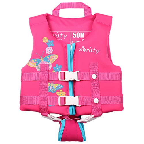 Zeraty Kids Swim Vest Life Jacket Toddler Float Jacket Boys Girls Floation Buoyancy Swimsuit with Adjustable Safety Strap, Suitable for 1-9 Year/22-50Lbs/Pink