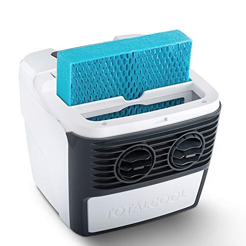 Totalcool 3000 - Raffreddatore d'aria portatile e umidificatore, sistema di raffreddamento evaporativo, peso leggero, basso consumo energetico, 12 volt e alimentazione di rete, bianco/grigio