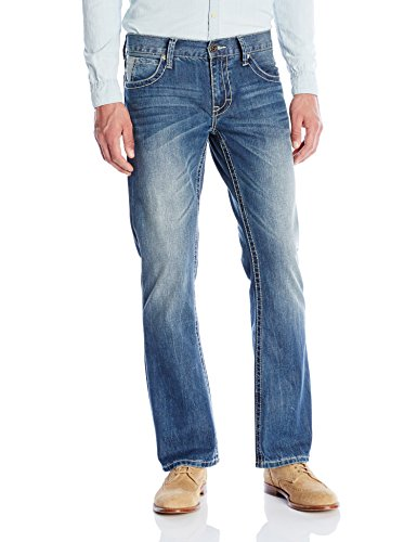 Stetson Men's Rocker Fit with Lower Rise and Slightly Fitted Thigh Jean,Light Blue Stone Wash with Art Deco V Back Pocket Embroidery, 29x40