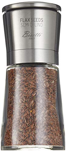 Bisetti Falx Seeds Macinasemi Speziali Tappo Acciaio Inox Made Italy Vetro, Inossidabile, Argento/Trasparente