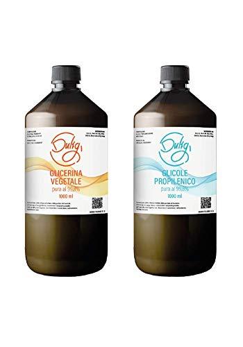 KIT 2 Litri BASE NEUTRA 50VG 50PG. Glicerina Vegetale Pura 99,8% 1L (1000ml) + Glicole Propilenico Puro 99,8% 1L (1000ml). Purezza Farmaceutica.