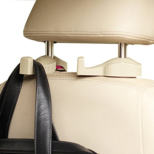 MoLiSmart Universal Car Hooks véhicule arrière siège appui-tête cintre crochet pour épicerie vêtements sac à main-2 Pack