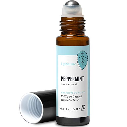 Peppermint Essential Oil Roll-On - Relieves Head Tension and Digestive Issues - Reduces Stress, Leak-Proof Metal Rollerball - Travel Safe - No Diffuser Needed!