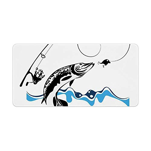 Extended Gaming Mouse Pad with Stitched Edges Keyboard MatNon-Slip Rubber Base Big Pike Fish Catching Wobblers Reel Trap in River Raptorial Predator Hunting Desk Pad for Gamer Office 12x24 Inch
