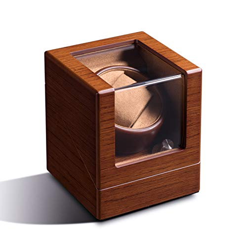 Uhrenbeweger, für Rolex-Automatikuhren mit flexiblen Uhrenkissen, Holzschale, Antrieb durch japanischen Motor, eingebaute LED-Beleuchtung, USB-Netzkabel