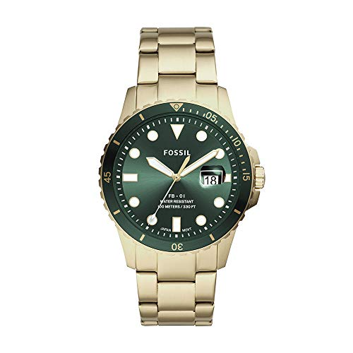 Fossil Men's FB-01 Quartz Stainless Three-Hand Watch, Color: Gold...