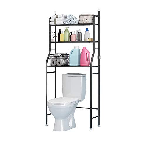 UDEAR 3 Shelf Bathroom Space Saver,Over The Toilet Rack,Bathroom Corner Stand Storage Organizer Accessories,The Washing Machine,Bathroom Tower Shelf,Black
