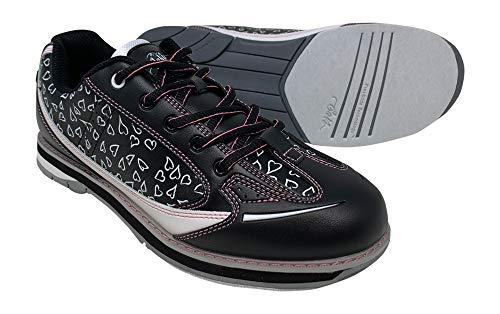 SaVi Bowling Products Damen Bowling-Schuhe, Wiener Herzen, Weiß/Schwarz/Pink, stilvolle Schnürung, mit Universal-Sohle für Rechts- und Linkshänder, Schwarz (White/Black/Pink), 37 EU