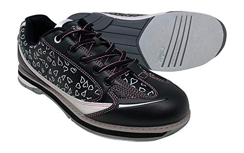 SaVi Bowling Women's Vienna Hearts White/Black/Pink Bowling Shoes (8)