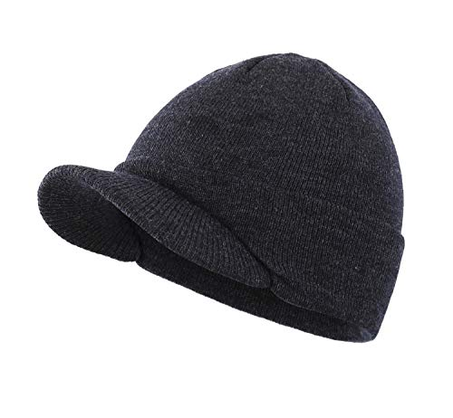 Home Prefer Mens Winter Hat Warm Knit Beanie Newsboy Caps Radar Skull Beanie Cap with Visor Grey