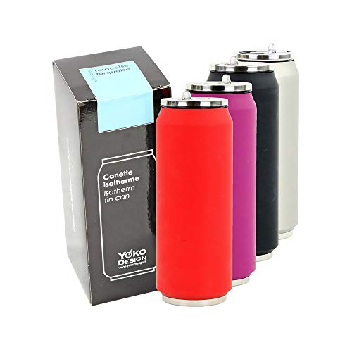 Yoko Design Canette Isotherme Double Paroi en Acier Inoxydable, sans BPA, Gourde réutilisable éco-responsable pour Eau, Sport, Enfant, Bureau, Voyage 280/500/700 mL
