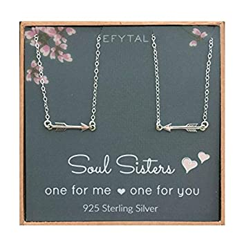 EFYTAL Best Friend Necklace Set Sterling Silver Arrow Link 2 Matching Friendship Necklaces Two BFF Gift Ideas