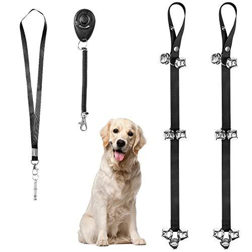 Hongxinq Timbre para perros, entrenamiento de orinal ajustable para perros Timbres de puerta para entrenamiento y entrada a la casa con zumbador, Daga de basura, silbato de perro