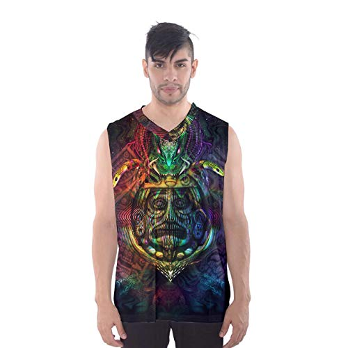 Ancient Aztec Trippy Design Psychedellic Mens Full Graphic Print Sleeveless Vest Basketball Tank Top Shirt (3XL)