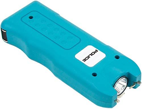 POLICE Stun Gun 628-58 Billion Mini Rechargeable with Siren Alarm LED Flashlight, Blue