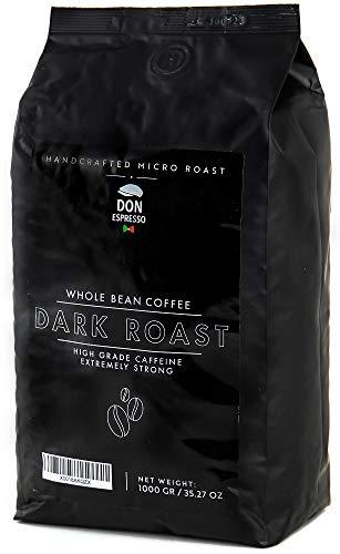 Don Espresso | Dark Roast - Extra Starker Kaffee | Stark Koffeinhaltig | 1KG Kaffeebohnen | Italienischer Espresso