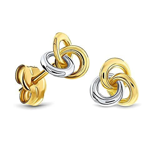 Miore Pendientes Mujer Pendientes Bicolor Oro Amarillo y Oro Blanco 14 Kt / 585