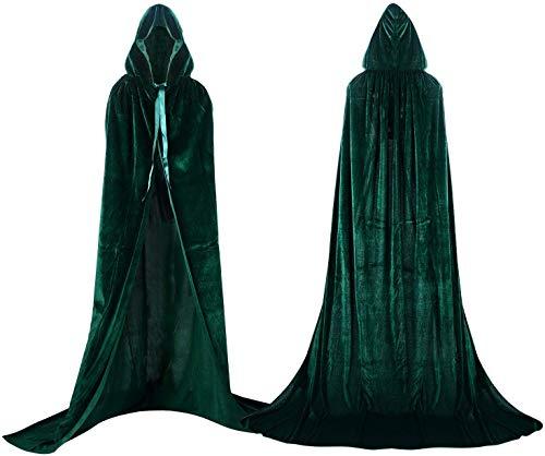 shafier Largo Capa Vampiro Diablo con Capucha Terciopelo Disfraz de Halloween para Mujeres Hombres Carnaval Fiesta Disfraces Talla Unica (Verde)