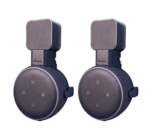The Dot Genie | Amazon Echo Dot 3rd Gen Wall Mount | The Original Outlet Hanger | No Muffled Sound | Exposed Speaker Grill, Mics, and Lights | Designed in USA (Black, 2-Pack)
