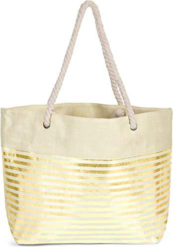 styleBREAKER Damen XXL Strandtasche mit Metallic Streifen und Reißverschluss, Schultertasche, Shopper 02012281, Farbe:Beige-Gold