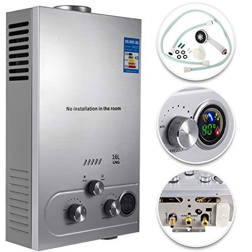 VEVOR Calentador de Gas 6L/8L/10L/12L/16L/18L, Calentador de Agua de Gas Natural, Calentador de Agua a Gas LNG, Calentador Gas, Calentador de Agua (16L)