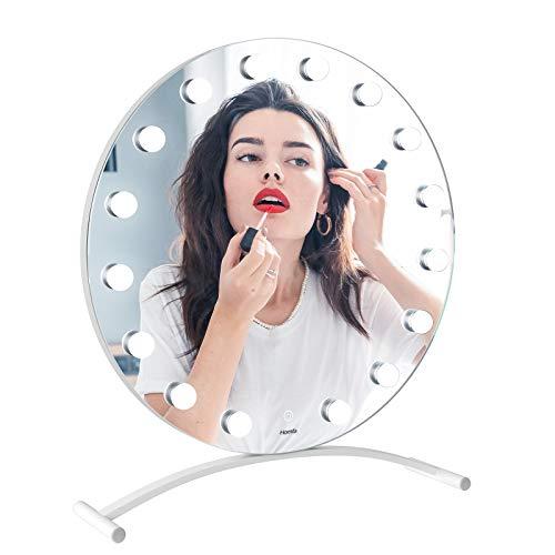Homfa Espejo Maquillaje con Luz Hollywood Espejo de Mesa Espejo Cosmético con 16 LED Bombilla 3 Modos de Color de Iluminación con Pantalla Táctil Blanco 65x60x6cm