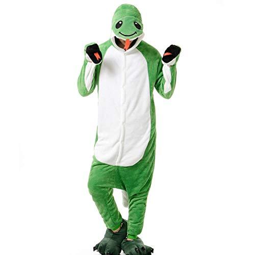Mameluco de Dibujos Animados de una Pieza Pijamas del Zodiaco niños Serpiente Verde Disfraces de Animales Masculinos y Femeninos Serpiente Verde S