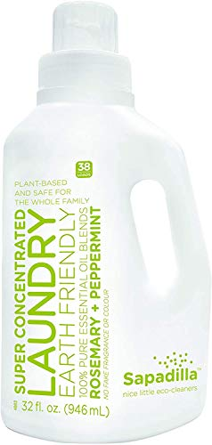 Sapadilla Rosemary + Peppermint High Efficiency (he) Biodegradable Laundry Detergent Liquid , 32 Ounce